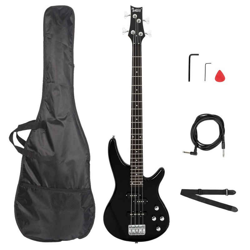 Glarry E-Bass »GIB«, Elektrobass E Bass E-bass Bassgitarre Longscale 4 Saiter Schwarz Mit Tasche