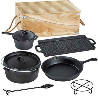 tectake Topf-Set »Dutch Oven-Set aus Gusseisen in Holzkiste 9-tlg.«, Gusseisen