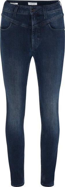 Hosen - Calvin Klein Skinny fit Jeans »HR SKINNY ANKLE YOKE BLUE BLACK« mit markanter V Passe vorn Calvin Klein Logo Badge ›  - Onlineshop OTTO