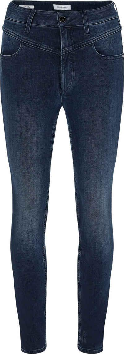 Calvin Klein Skinny-fit-Jeans »HR SKINNY ANKLE YOKE -BLUE BLACK« mit markanter V-Passe vorn & Calvin Klein Logo-Badge