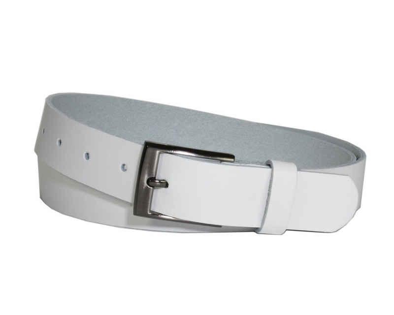 COLOGNEBELT Ledergürtel »C20-SL« 3 cm breiter Ledergürtel in Weiß mit eckiger Gürtelschließe