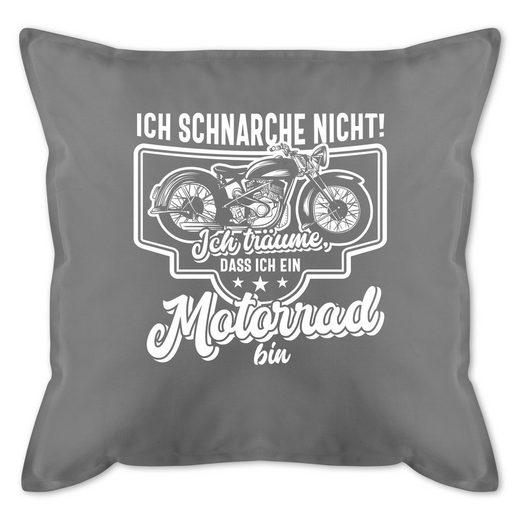 Shirtracer Dekokissen »Ich schnarche nicht ich träume dass ich ein Motorrad bin weiß - Motorräder - Bedrucktes Kissen mit Füllung - Kissen«, dekokissen mit füllung spruch