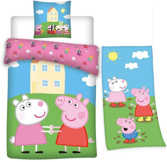 Kinderbettwäsche »Peppa Pig - Peppa Wutz - Bettwäsche-Set, 135x200 cm und Badetuch, 75x150 cm«, Peppa Pig, 100% Baumwolle