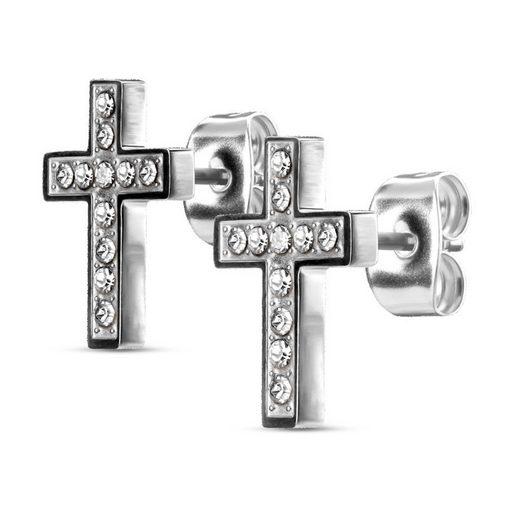 BUNGSA Ohrstecker-Set »Ohrstecker Kreuz kristallbesetzt Silber aus Edelst« (inkl. Schmuckbeutel aus Organza), Ohrschmuck Ohrringe Frauen Geschenk Liebe