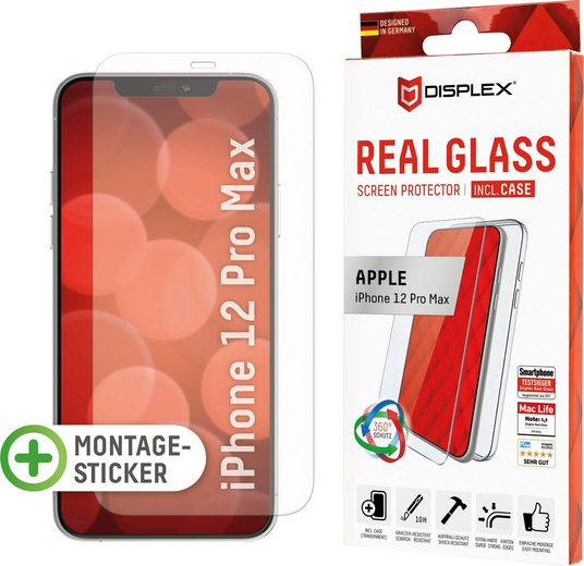 Displex »DISPLEX Real Glass Panzerglas für Apple iPhone 12 Pro Max (6,7), 10H Tempered Glass, mit Montagesticker, 2D« für Apple iPhone 12 Pro Max, Displayschutzfolie