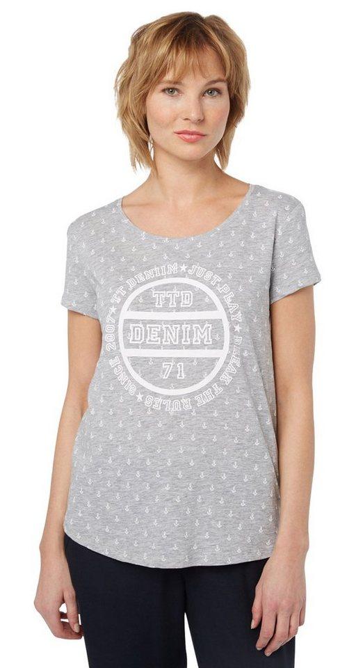 Tom tailor denim t shirt gemustertes t shirt mit print for Tailored t shirts online