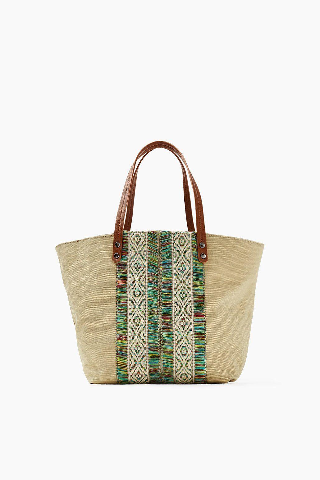 ESPRIT CASUAL Canvas-Shopper mit Boho-Stichtings