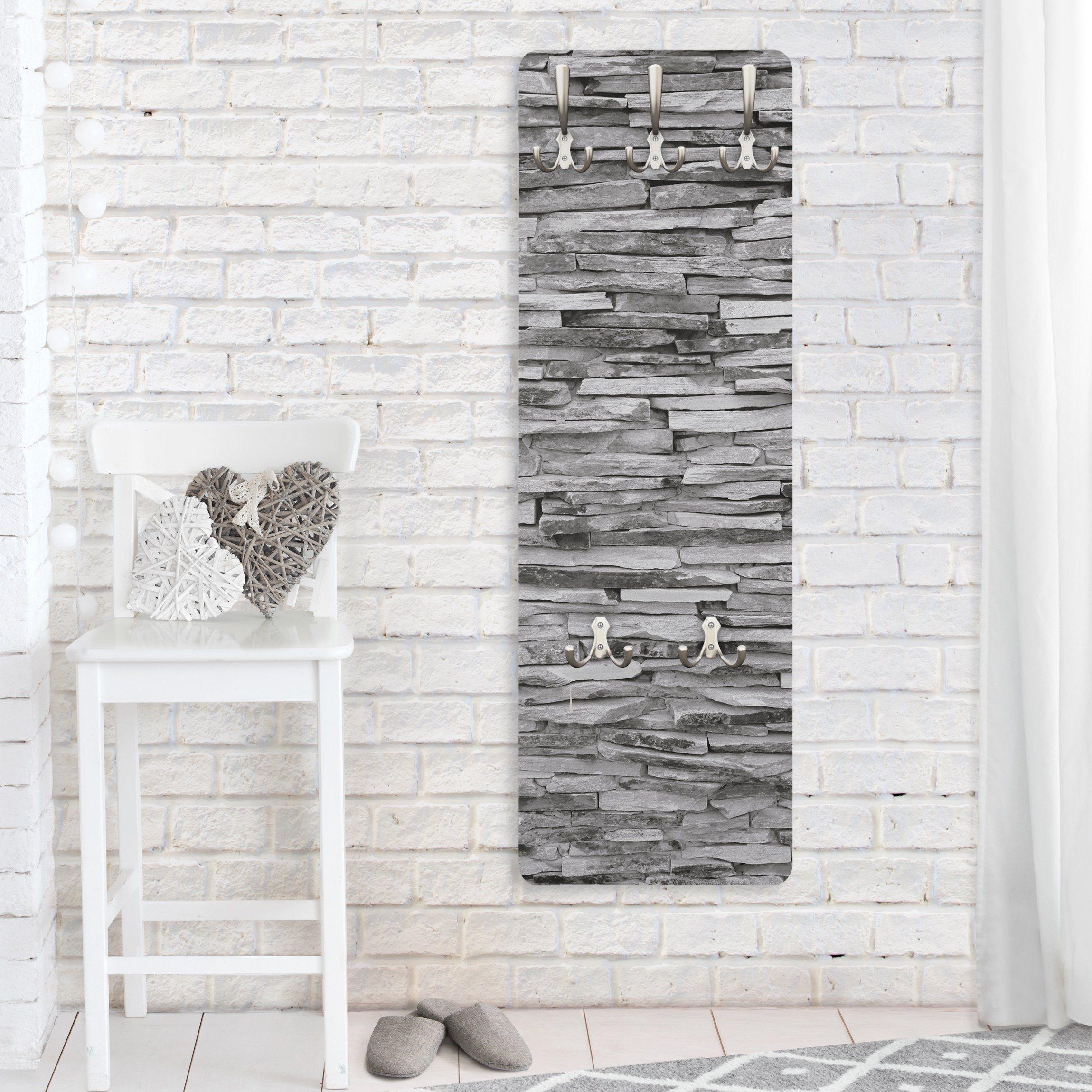 Bilderwelten Wandgarderobe 139x46x2cm »Arizona Stonewall« | Flur & Diele > Garderoben > Garderobenhaken | Weiß - Matt | Holz - Faserplatte - Metall | Bilderwelten