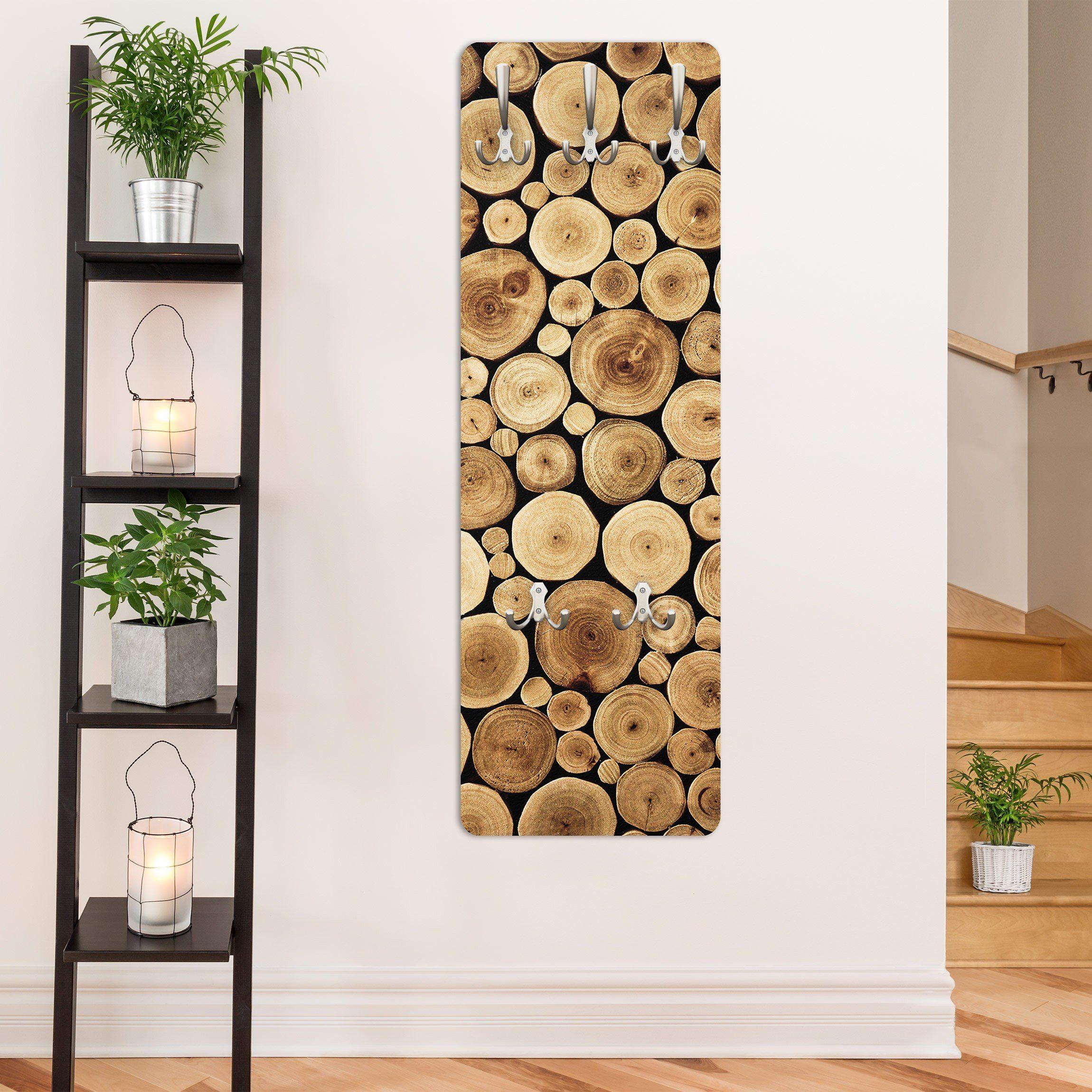 Bilderwelten Wandgarderobe 139x46x2cm »Homey Firewood«