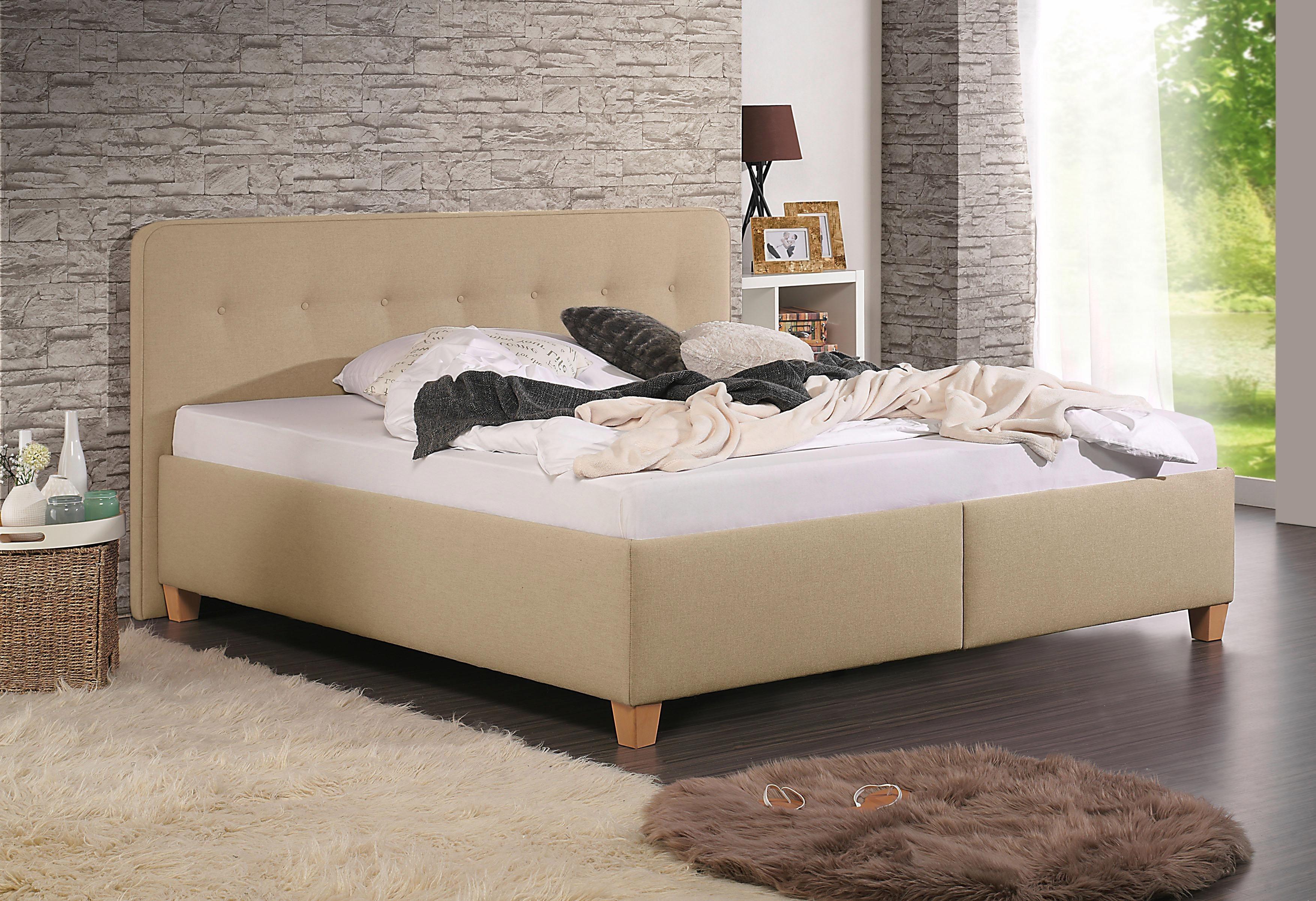Home affaire Polsterbett »Figaro« mit oder ohne Matratze in 2 Ausführungen, Härtegrad 2 oder 3 | Schlafzimmer > Betten > Funktionsbetten | Strukturstoff - Buche | Home affaire