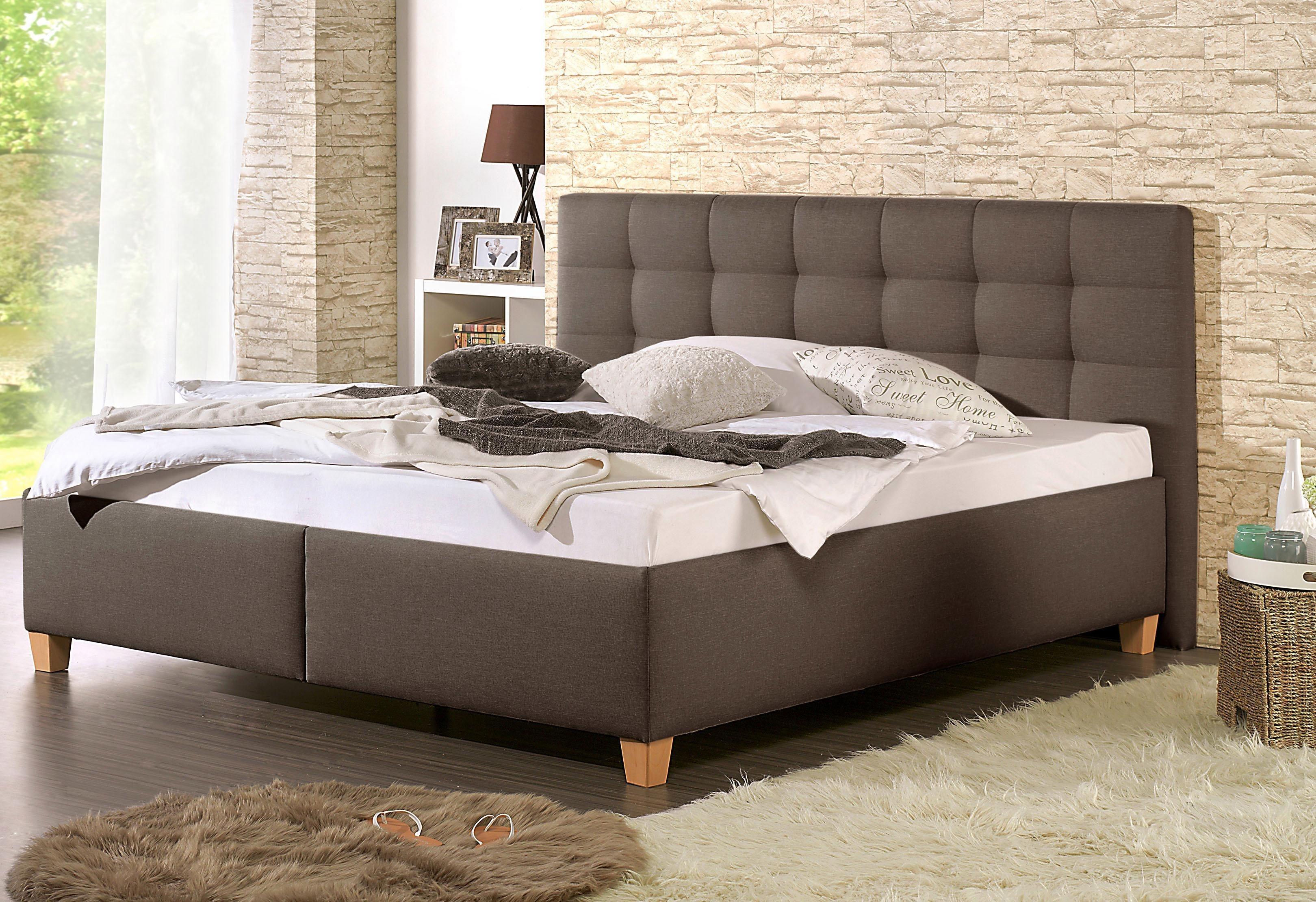 Home affaire Polsterbett »Timmy« mit oder ohne Matratze in 2 Ausführungen, Härtegrad 2 oder 3 | Schlafzimmer > Betten > Funktionsbetten | Strukturstoff - Buche | Home affaire