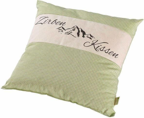 Duftkissen, »Zirbenkissen«, Herbalind, Karo grün mit Natur und Druck , 40x40 cm