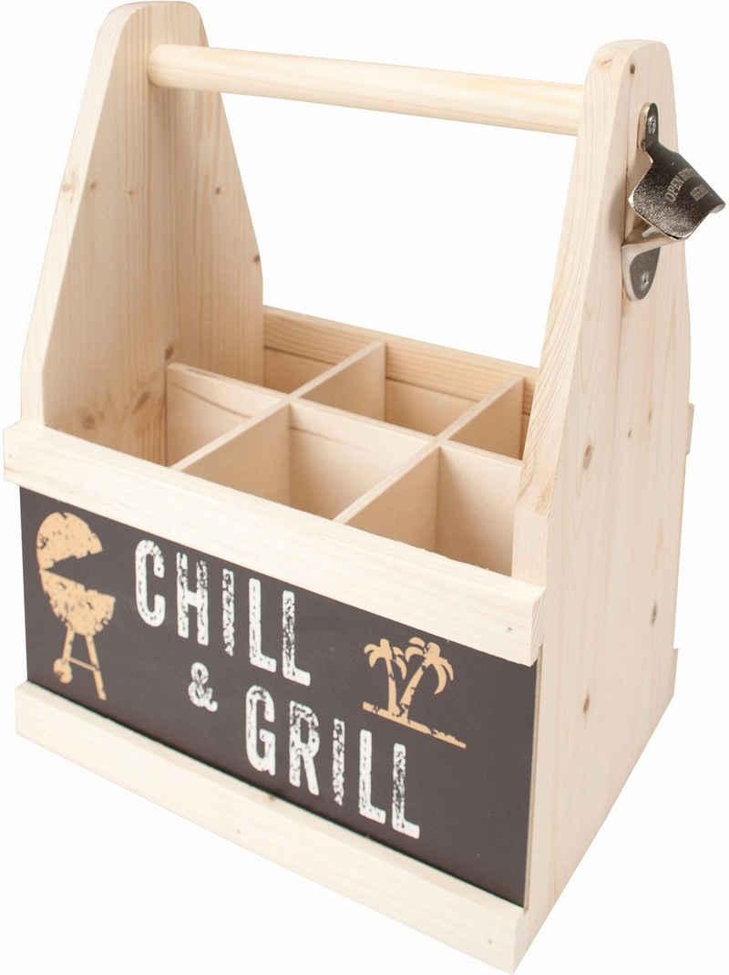Contento Flaschenkorb »Chill & Grill«, aus europäischem Holz