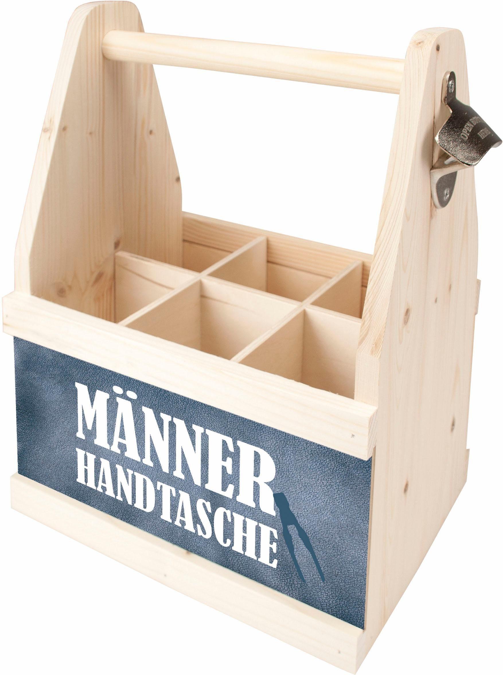 Contento Bier Caddy »Männer Handtasche«, Holz