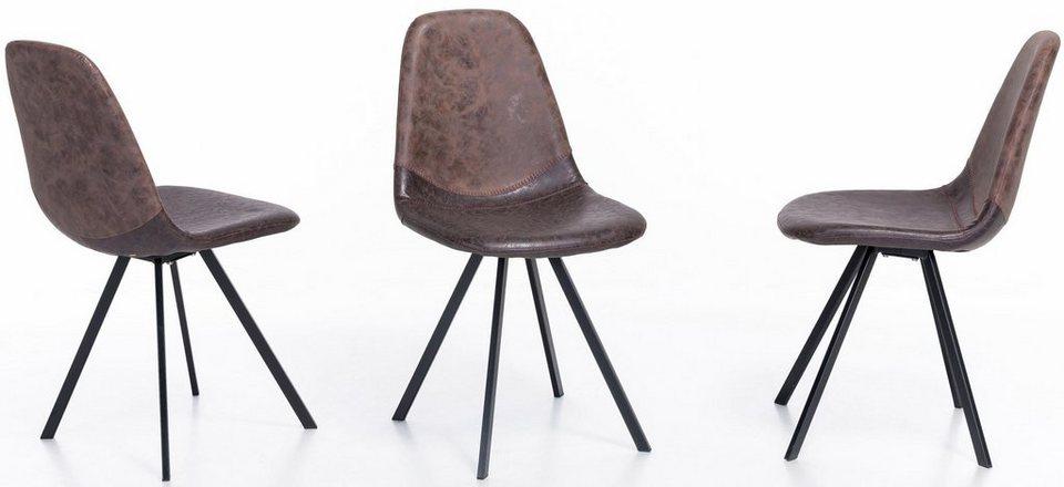 Home affaire stuhl lund im 4er set bezogen mit for Stuhl braun kunstleder