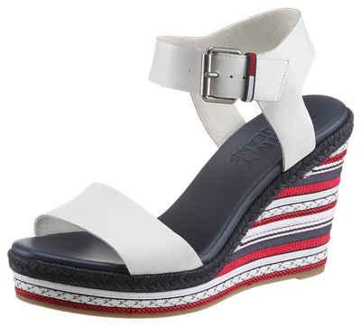 Tommy Jeans »COLORED LACES HIGH WEDGE« High-Heel-Sandalette mit gemustertem Keilabsatz