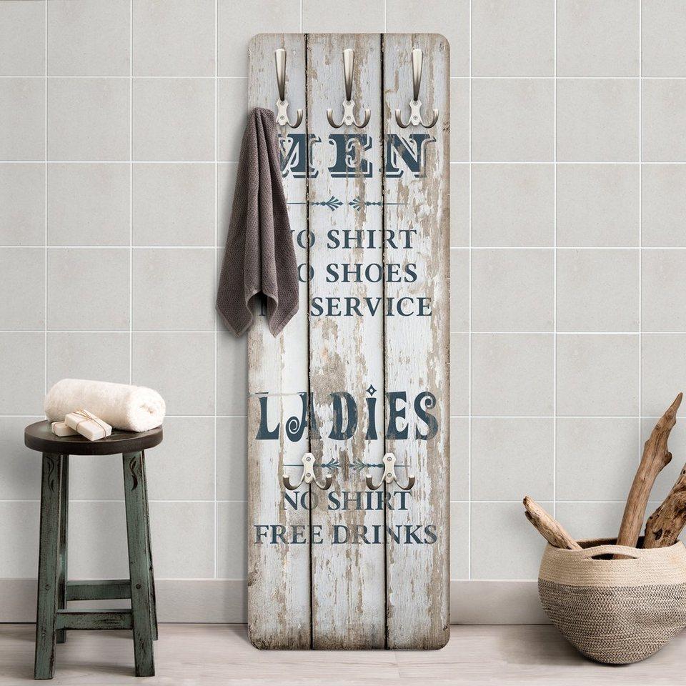Bilderwelten Garderobe Shabby Chic 139x46x2cm »Men and Ladies ...