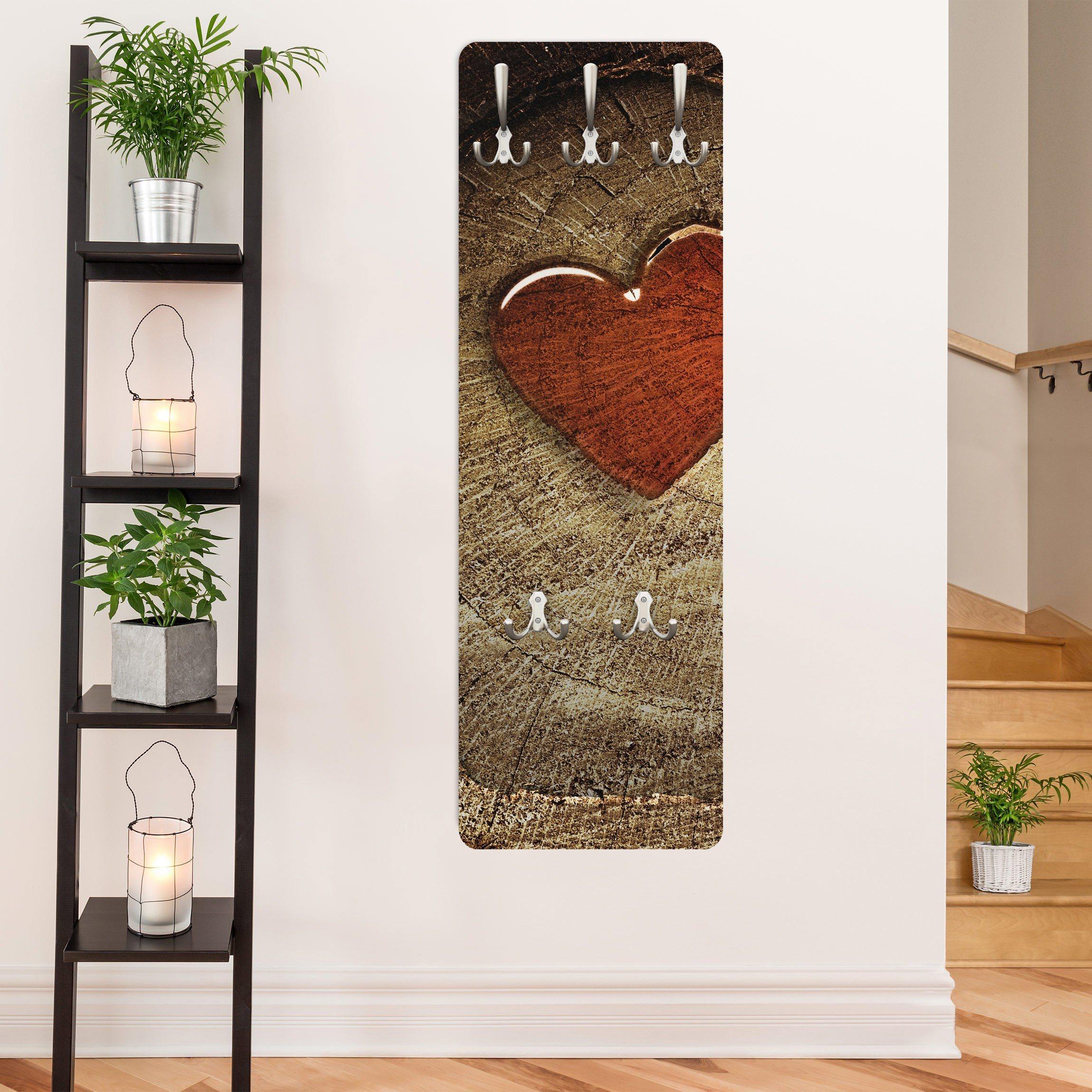 Bilderwelten Wandgarderobe 139x46x2cm »Holzoptik Natural Love« | Flur & Diele > Garderoben > Garderobenhaken | Weiß - Matt | Holz - Faserplatte - Metall | Bilderwelten