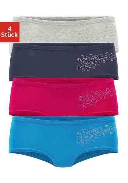 Mädchen Panties (4 Stück), bequemer Basic für jeden Tag, mit floralem Glitzerdruck