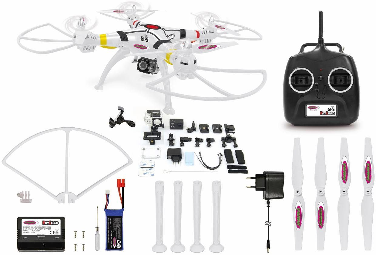 JAMARA Quadrocopter mit Actioncam und GPS, »Payload GPS Altitude FHD +Wifi Actioncam«