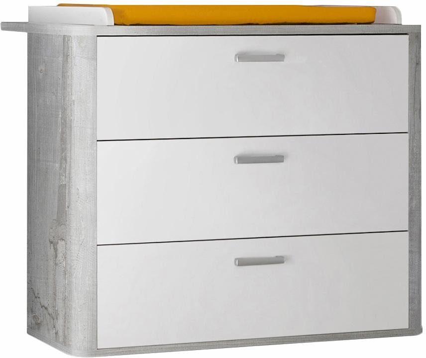 Wickelkommode passend zur Babymöbel Serie »Aarhus«, in vintage grau/weiß matt Lack