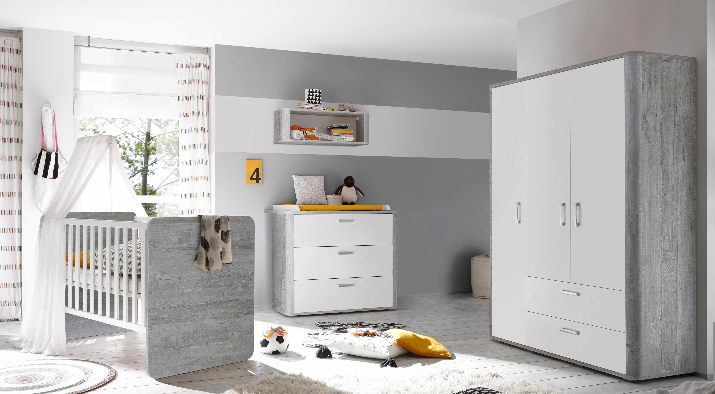 Komplettzimmer »Aarhus« Babybett + Wickelkommode + Kleiderschrank, (3-tlg.) in vintage grau/weiß matt Lack