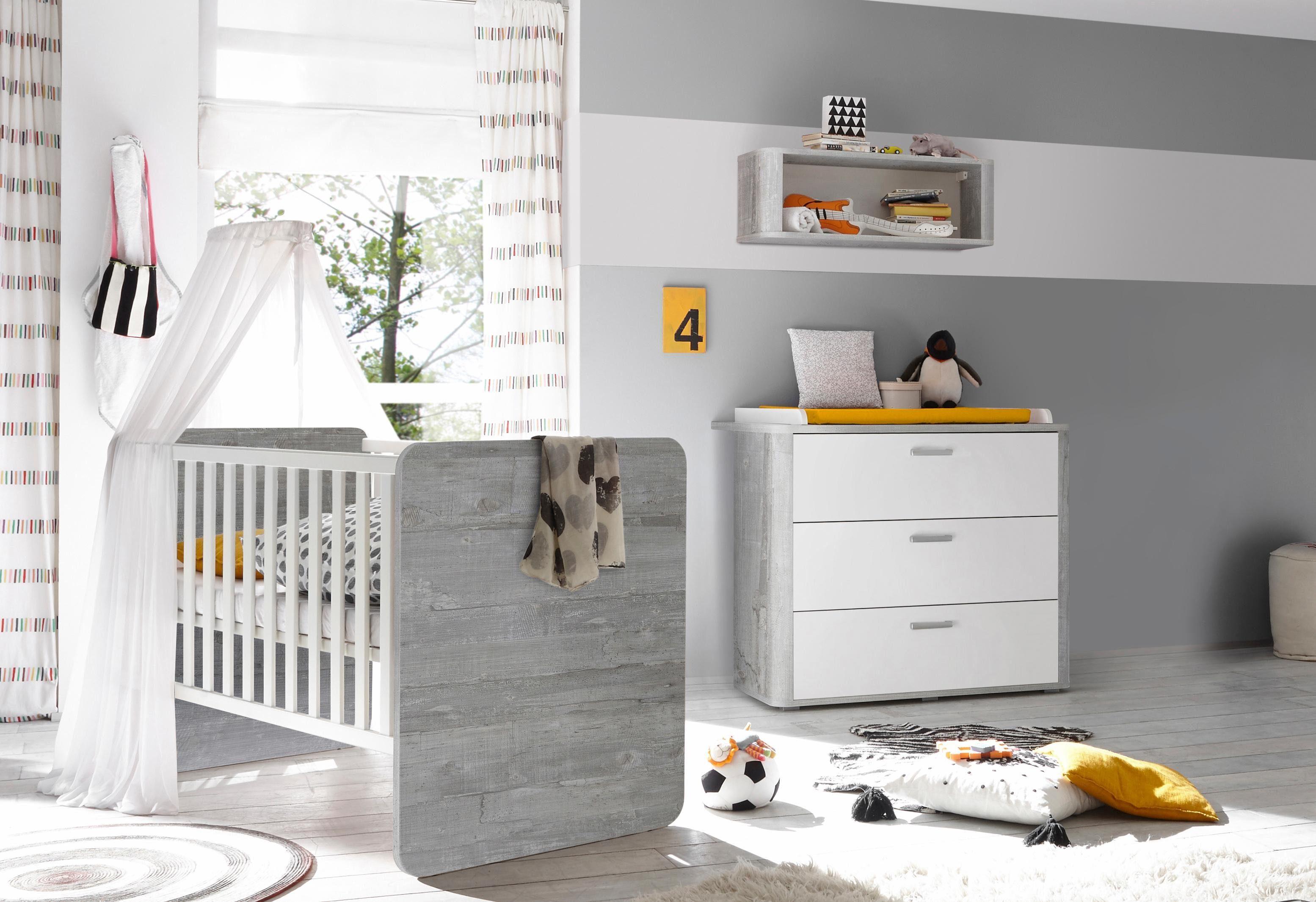 Spar-Set »Aarhus«, Babybett und Wickelkommode, 2-tlg., in vintage grau/weiß matt Lack