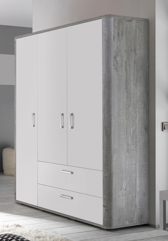 Kleiderschrank »Aarhus«, in vintage grau/weiß matt Lack