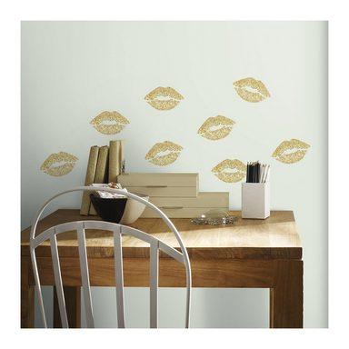 roommates wandsticker kussmund 16 tlg goldfarbig online kaufen otto. Black Bedroom Furniture Sets. Home Design Ideas