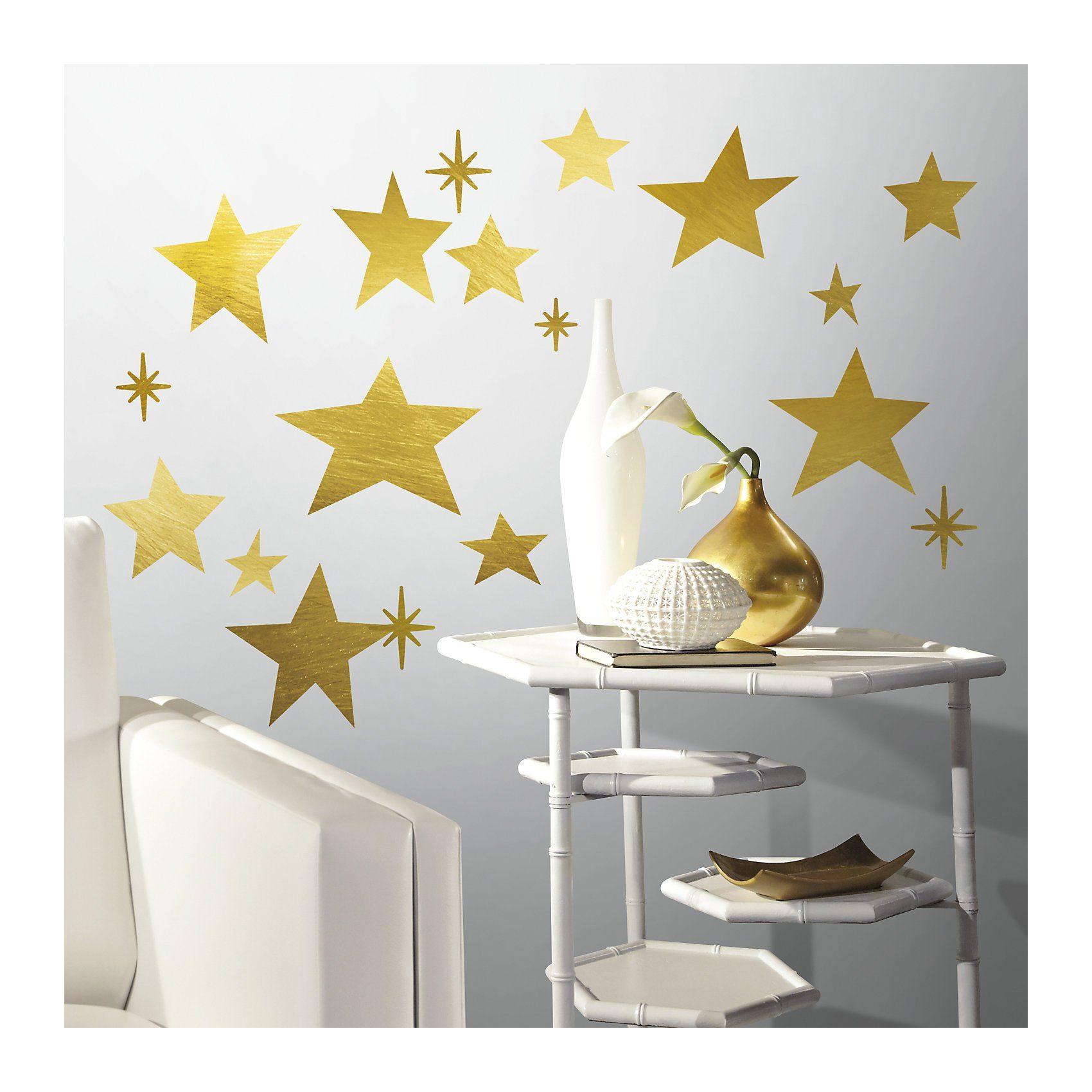 RoomMates Wandsticker goldfarbige Sterne, 60-tlg.