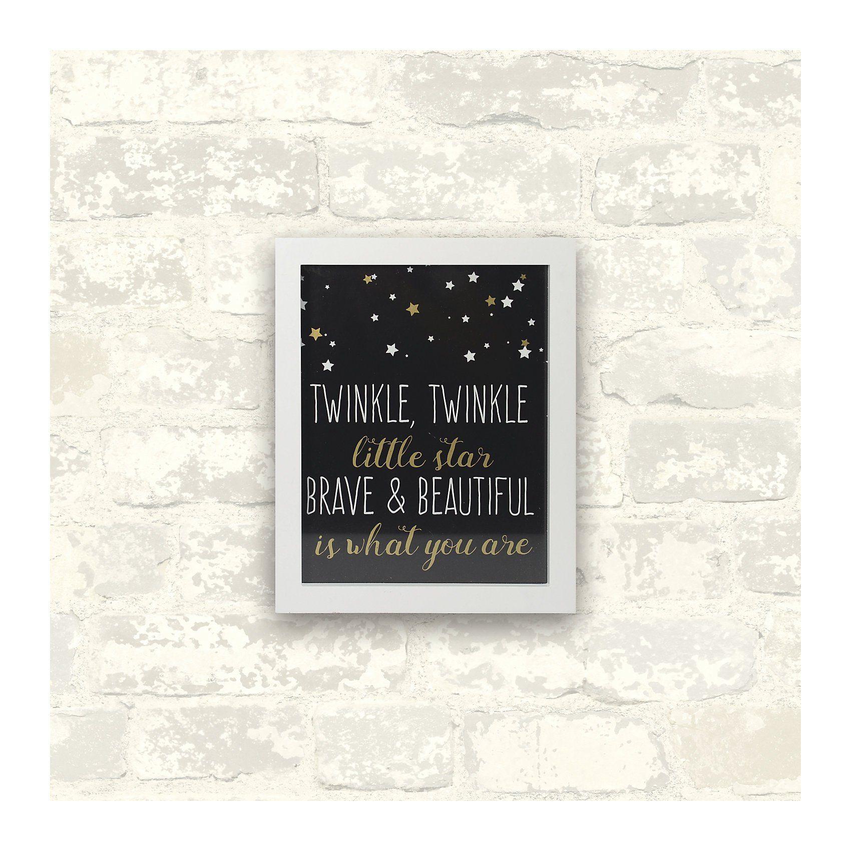 RoomMates Wandbild mit Schriftzug, Brave & Beautiful, schwarz, 8 x 10
