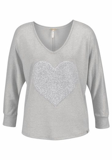 Key Largo V-Ausschnitt-Pullover Charlotte, mit hochwertigem Pailleten-Herz