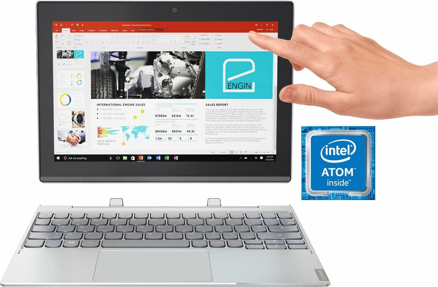 Lenovo MIIX 320-10ICR 80XF001VGE Convertible Notebook (25,7 cm/10,1 Zoll, Intel Atom, HD Graphics)