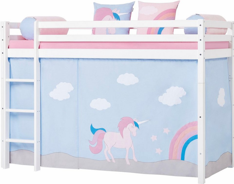 hoppekids mittelhohes hochbett einhorn inkl vorhang. Black Bedroom Furniture Sets. Home Design Ideas