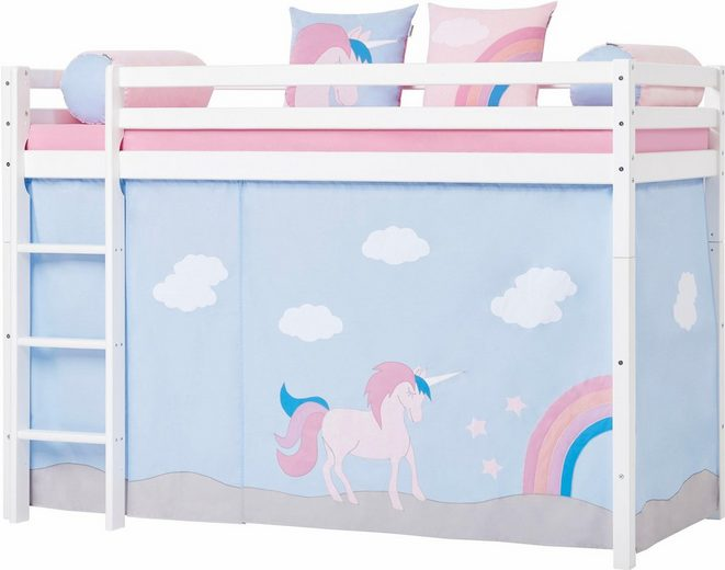 hoppekids mittelhohes hochbett einhorn inkl vorhang set matratze und rollrost online kaufen. Black Bedroom Furniture Sets. Home Design Ideas