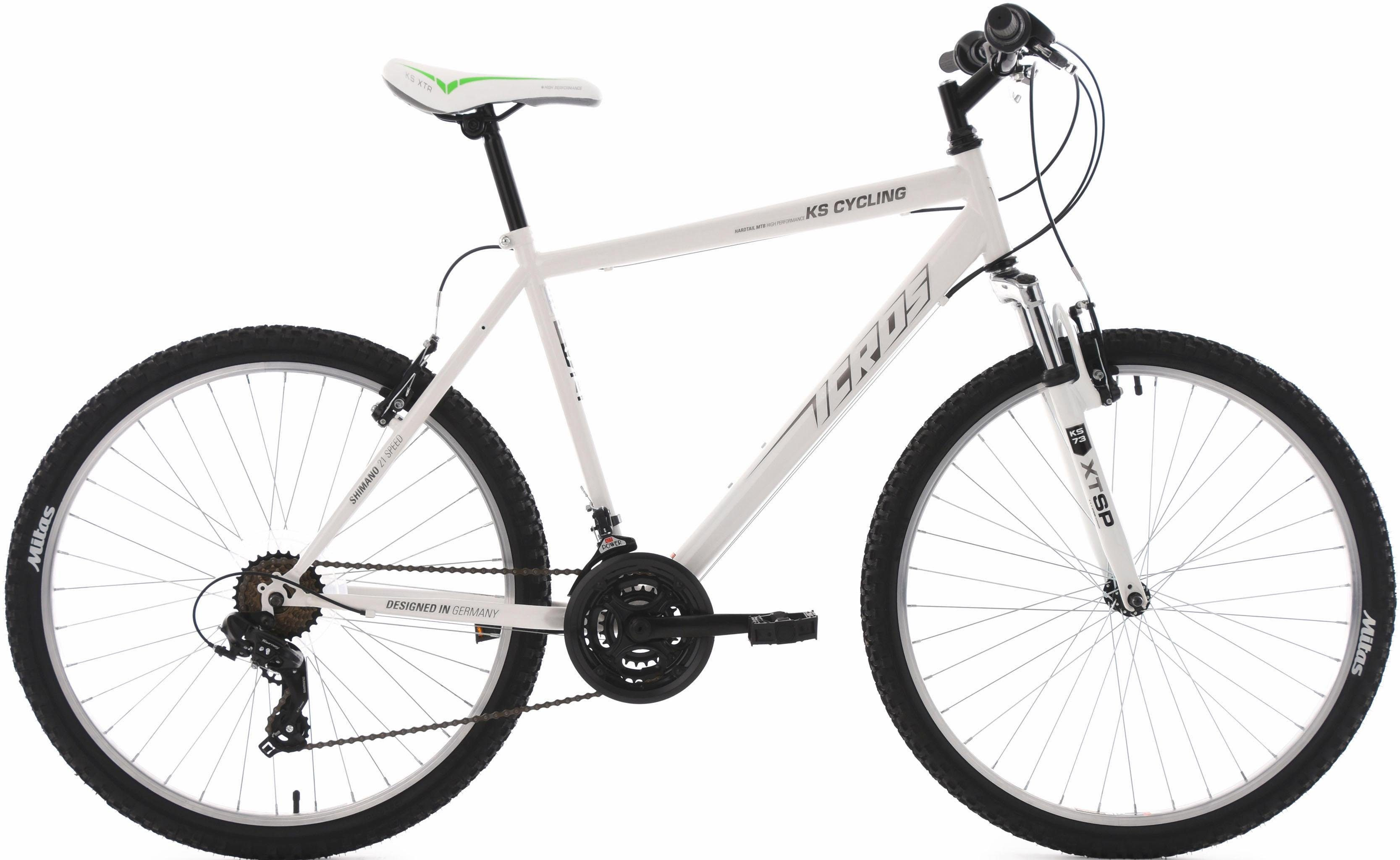 KS Cycling Hardtail-Mountainbike Herren, 26 Zoll, weiß, 21 Gang-Shimano Tourney Schaltwerk, »Icros«
