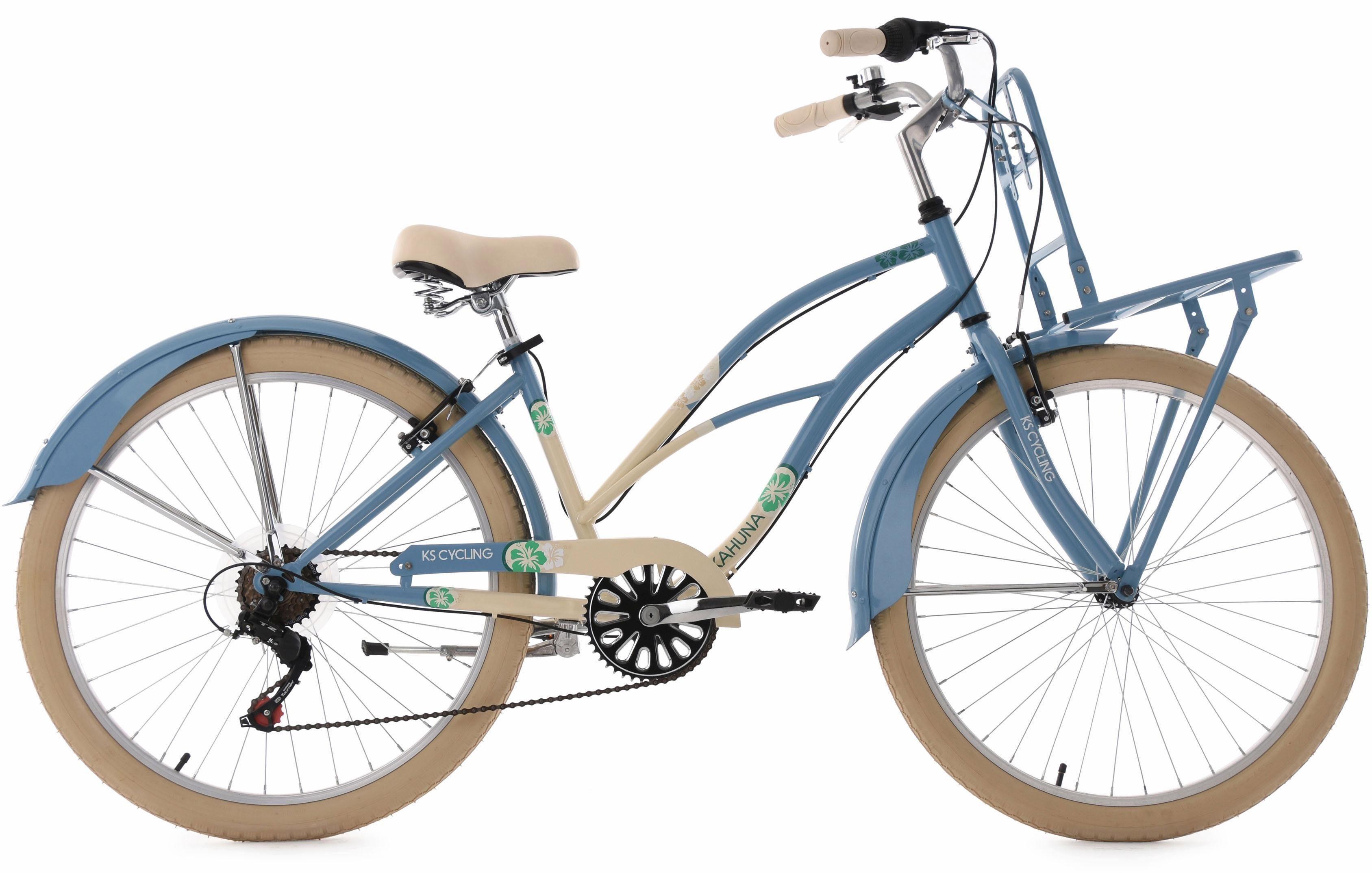KS Cycling Beachcruiser, 26 Zoll, blau-beige, 6 Gang-Shimano Tourney Schaltwerk, »Kahuna«