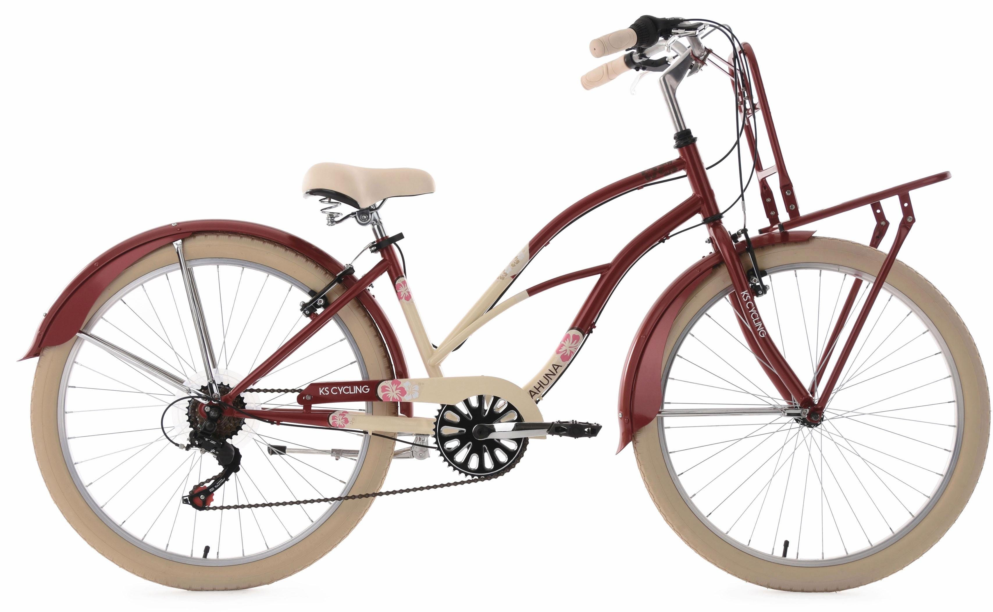KS Cycling Beachcruiser, 26 Zoll, rot-beige, 6 Gang-Shimano Tourney Schaltwerk, »Kahuna«