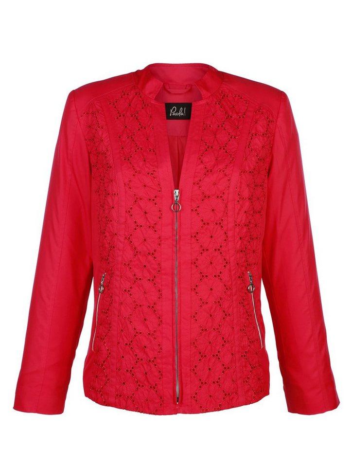 Damen Paola Blazer mit Blumenlochstickerei rot | 04055713606571