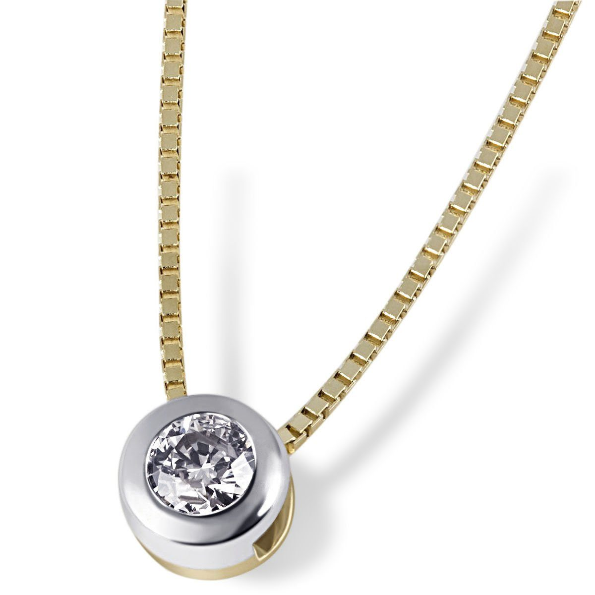 Kaufen 10 Online CtLupenrein Goldmaid 1 Brillant Collier Bicolor 0 Solitär 585Gold v0mnwN8