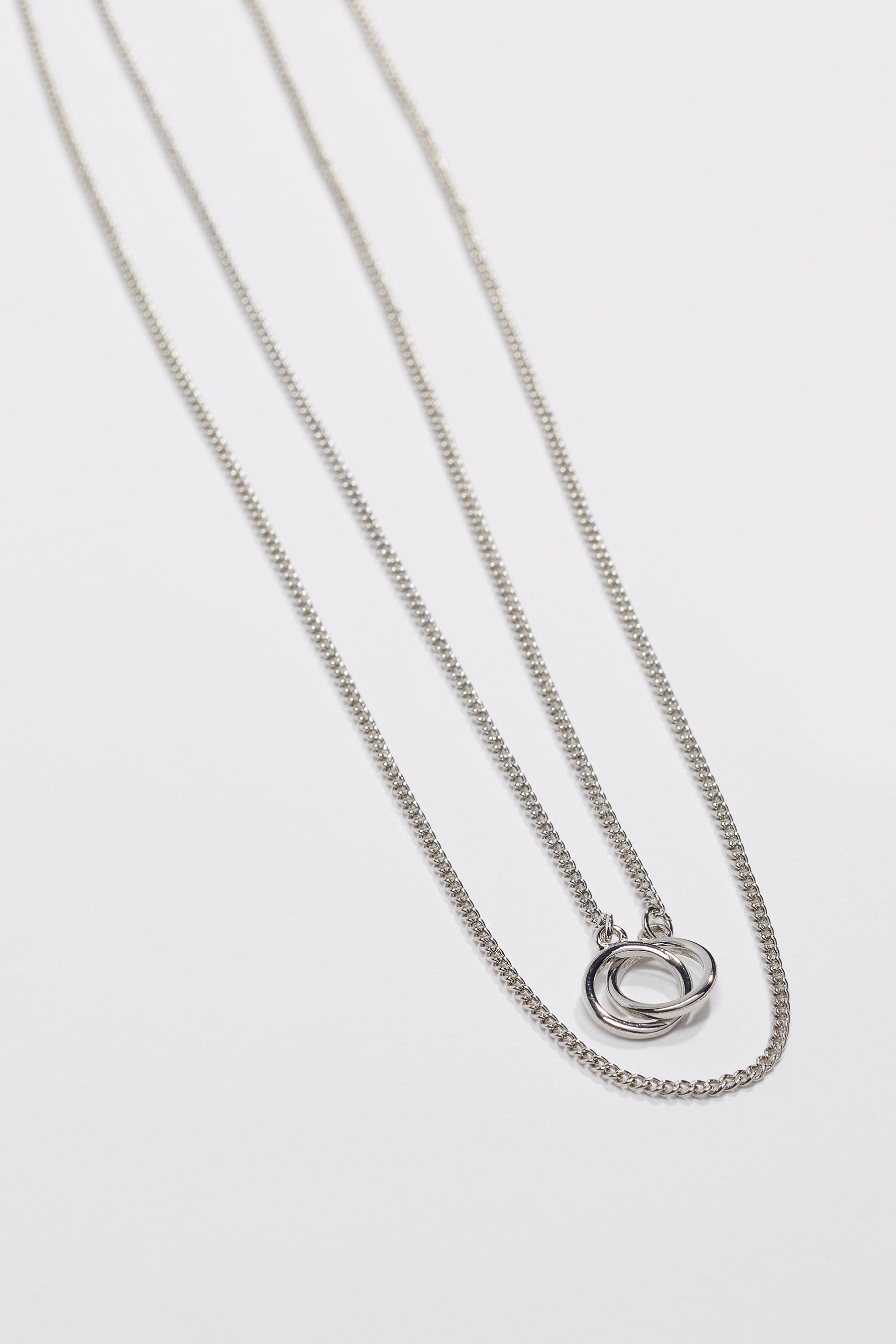 Next Mehrreihige Halskette mit ineinandergreifenden Ringen