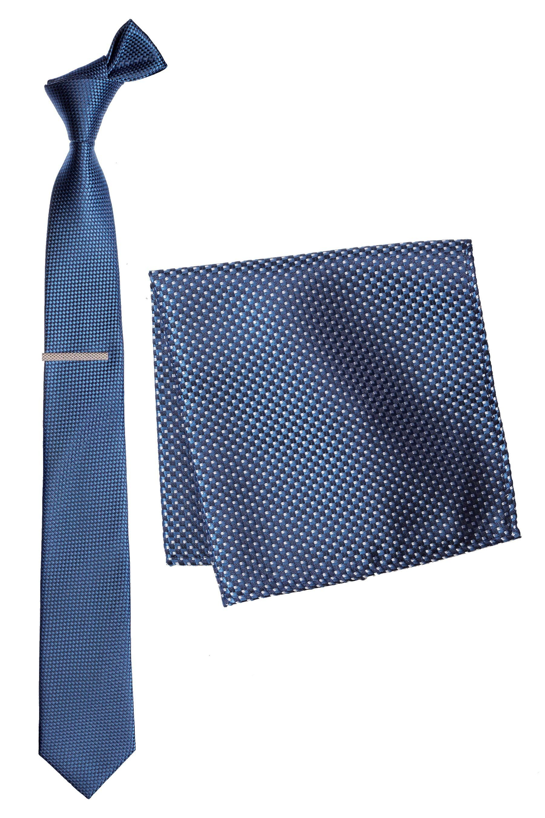 Next Strukturierte Krawatte, Einstecktuch und Krawattenklammer 3 teilig