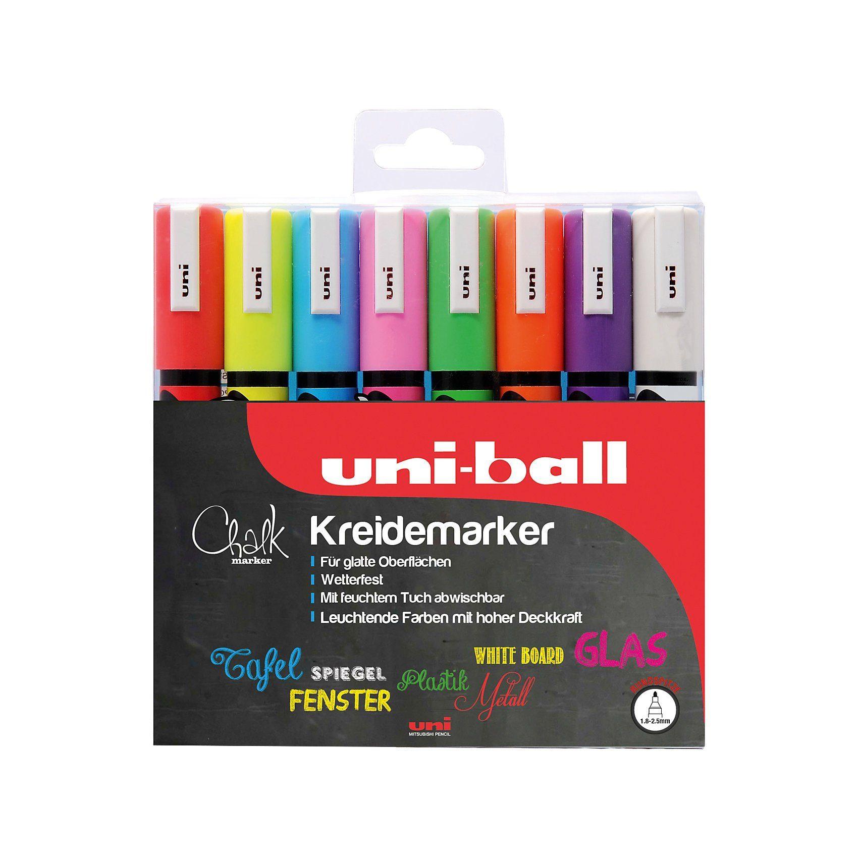 uni-ball UNI Chalk Kreidemarker 1,8-2,5 mm, 8 Farben
