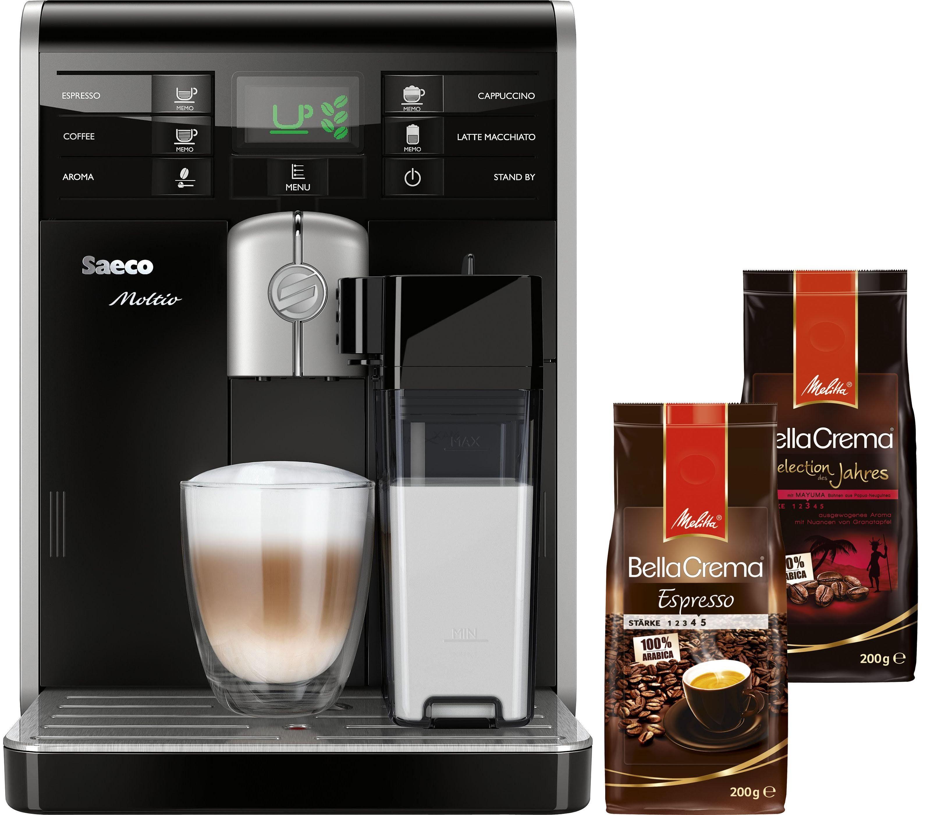 Saeco Kaffeevollautomat »HD8769/01 Moltio One Touch« mit integrierter Milchkaraffe, schwarz