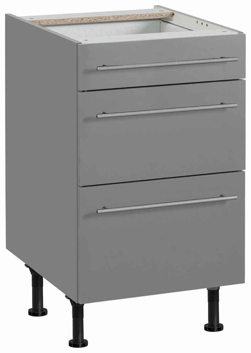 OPTIFIT Unterschrank »Bern« 50 cm breit, mit 1 Schubkasten und 2 großen Auszügen, mit höhenverstellbaren Füßen, mit Metallgriffen