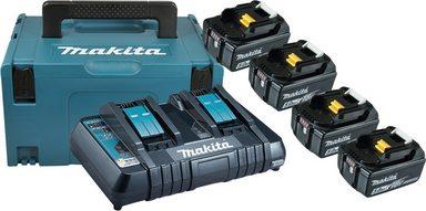 MAKITA Akku-Set »Power Source Kit«, 4 Akkus (18 V, 5 Ah) und Ladegerät