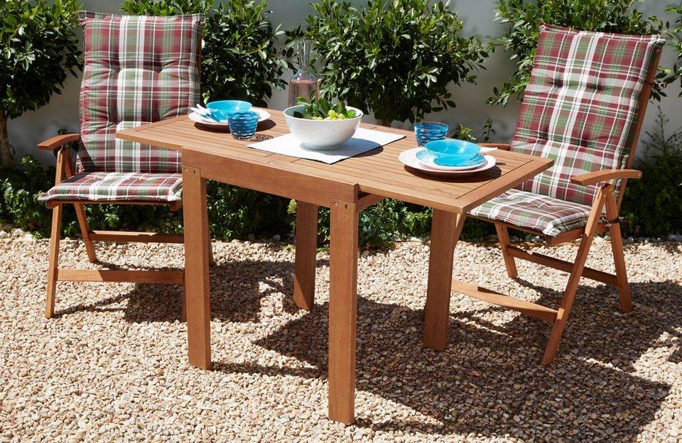 Gartenmobel Set Eukalyptusholz ~ Gartenmöbelset »borkum« 5 tlg. 2 klappsessel tisch 65 130 cm