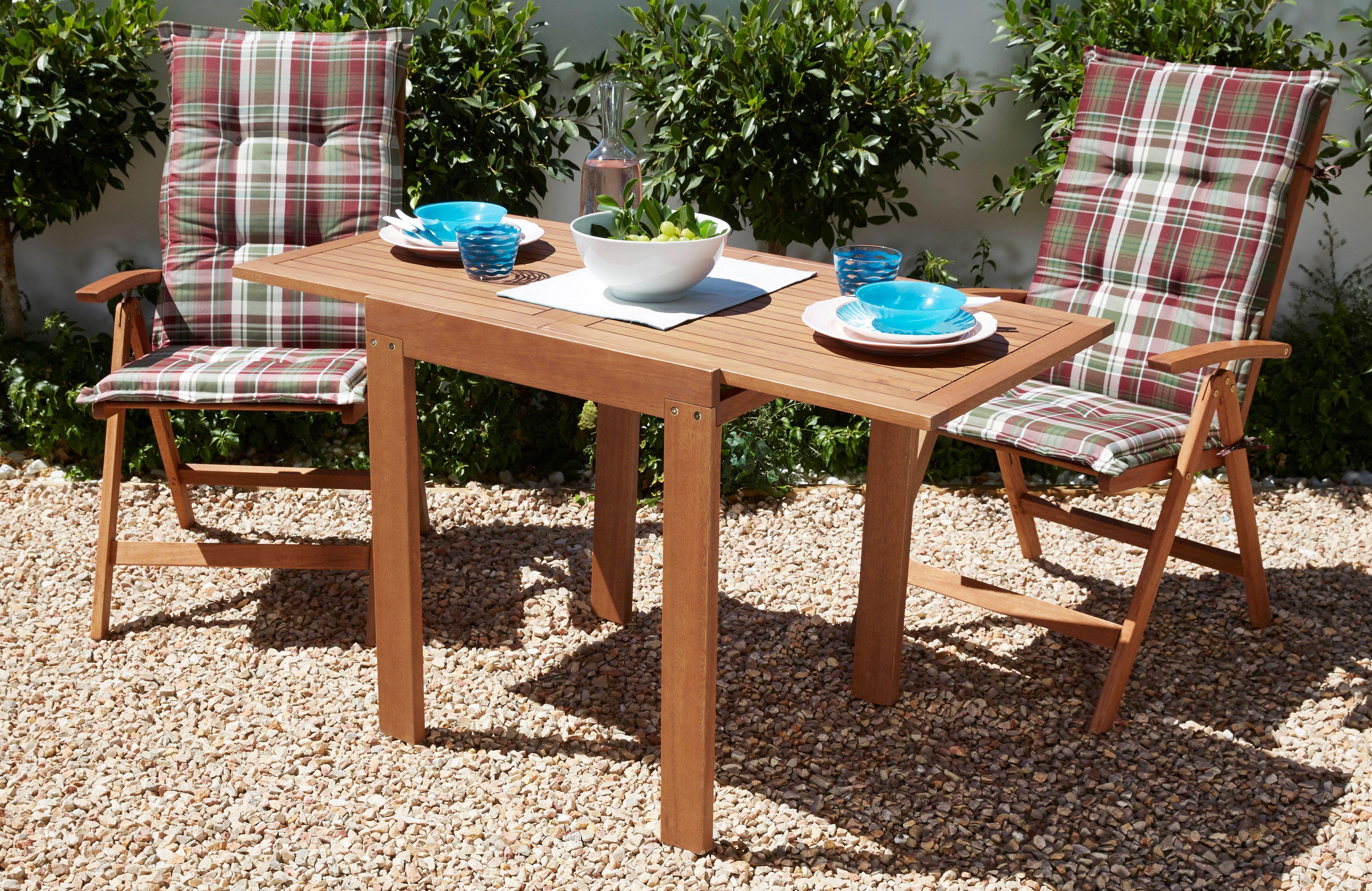 MERXX Gartenmöbelset »Borkum«, 5-tlg.,2 Klappsessel, Tisch 70x130 cm, Eukalyptus, braun