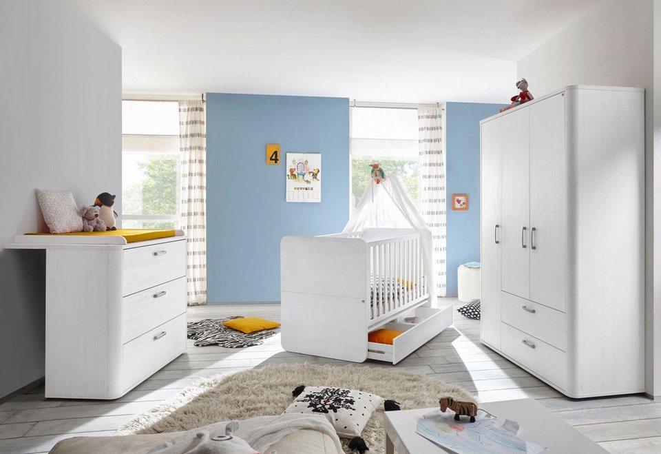 komplettzimmer lillesand babybett wickelkommode kleiderschrank 3 tlg in pinie nb. Black Bedroom Furniture Sets. Home Design Ideas