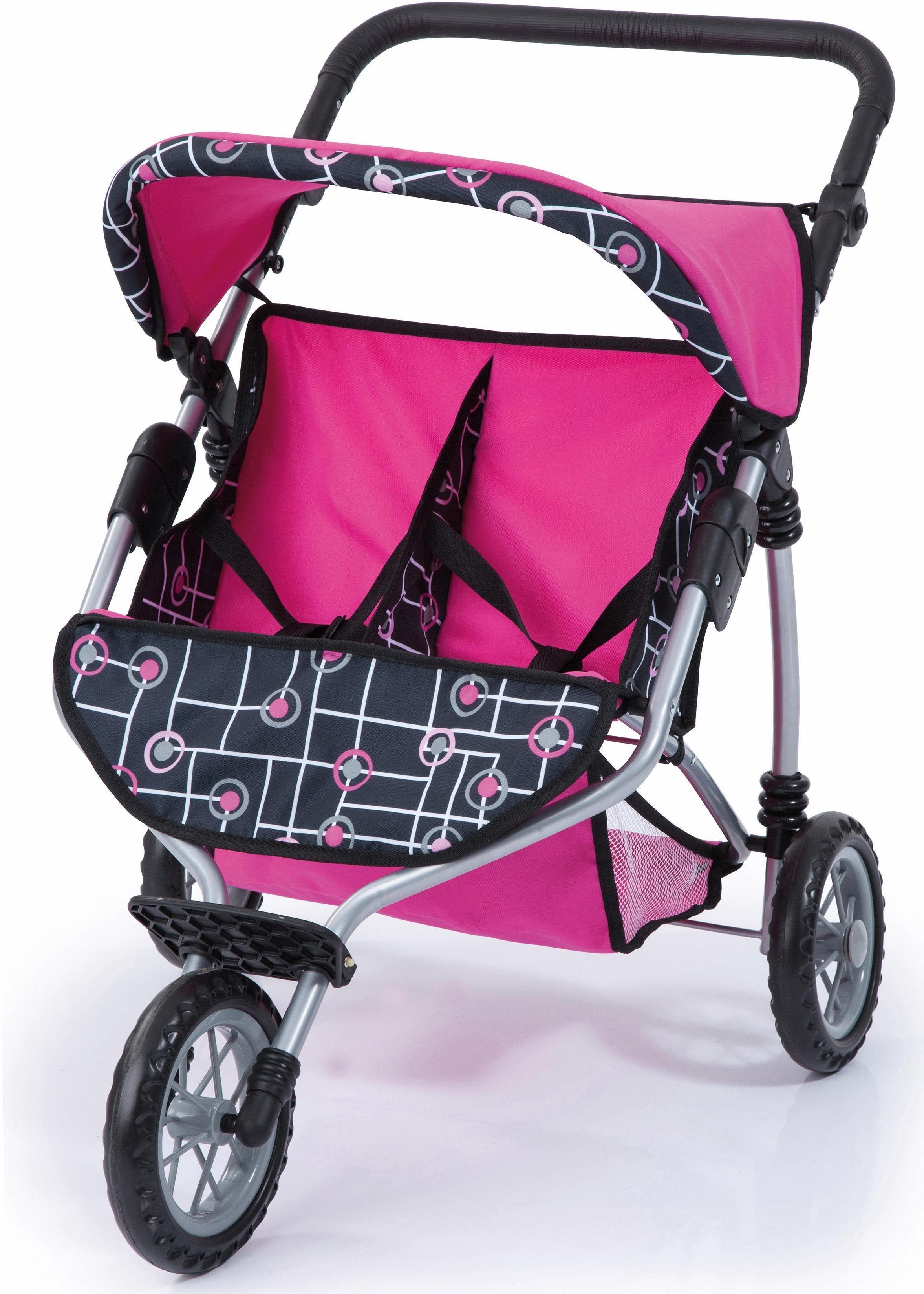Bayer Design Puppenwagen , »Zwillingsjogger, pink/schwarz«